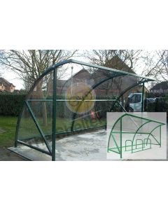 Expert Economy 8 cycle open front shelter with render showing cycle stand layout