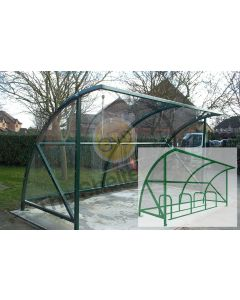 Expert Economy 8 cycle open front shelter with render showing stands
