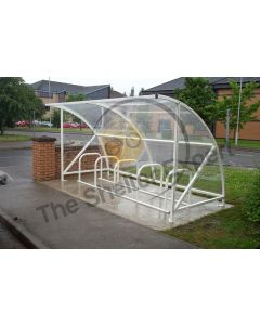 10 cycle open front shelter for schools - white