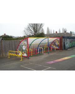 20 cycle open front harlequin shelter with 10 scooter rack for schools