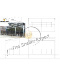 Rydale Cantilever cycle shelter for 10 bikes