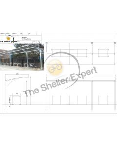 Rydale Cantilever cycle shelter for 14 bikes