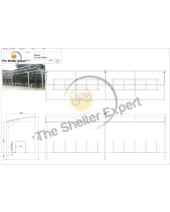 Rydale Cantilever cycle shelter for 20 bikes