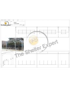 Rydale Cantilever cycle shelter for 24 bikes