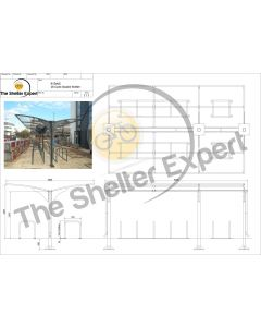 Rydale Cantilever double sided cycle shelter for 28 bikes
