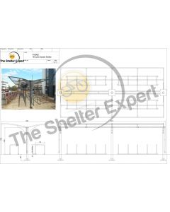 Rydale Cantilever double sided cycle shelter for 40 bikes