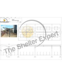Rydale Cantilever double sided cycle shelter for 48 bikes