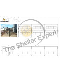 Rydale Cantilever double sided cycle shelter for 60 bikes
