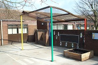 FS26 - Wave style canopy shelter with multi colour powder coat finish