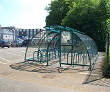 FS31 - Salisbury closed compound cycle shelter with vented roof, for 40 bikes