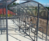 FS32 - Harlan style 12 open compound cycle shelter, with divider partition, for 42 bikes