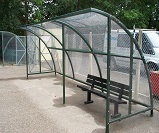 FS37 - Harlan style 12 shelter with end panels to form 6.0mtr x 2.0mtr waiting shelter, complete with heavy duty 5 bar steel bench