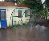FS43 - Harlan style 12 cycle shelter for 10 bikes, with end panels