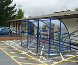 FS53 - Economy extended front cycle shelter for 10 bikes, with front gate