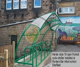 Harlan Style 18 cycle shelter installed at Hunters Bar infants school, Sheffield