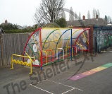 FS69 - Harlequin cycle shelter for 20 cycles with themed end panels