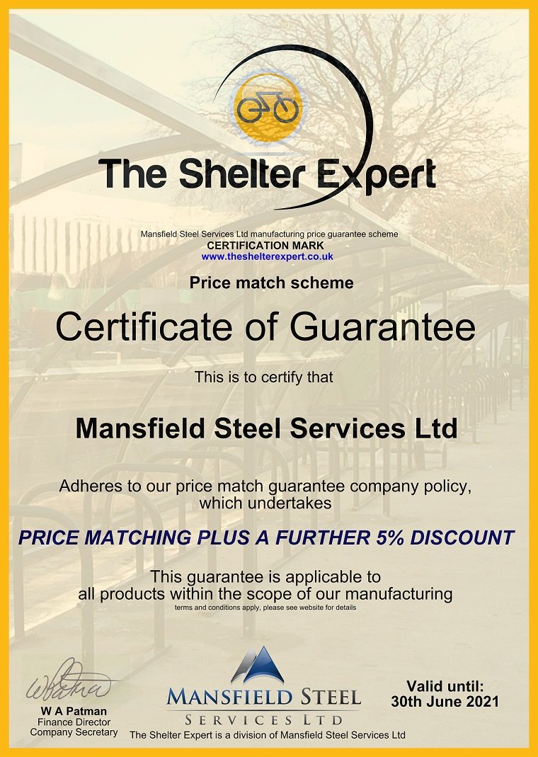 The Shelter Expert price promise guarantee certificate